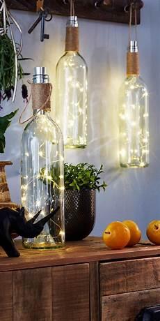 dekorieren mit lichterketten led deko quot weinflasche quot mit h 252 bschem lichteffekt deko