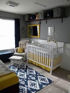 Kinderzimmer Blau Grau - thrifty navy yellow grey nursery project nursery