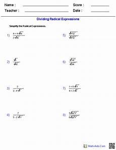 dividing radical expressions worksheets algebra worksheets algebraic expressions radical