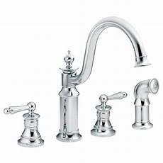 moen 2 handle kitchen faucet moen waterhill high arc 2 handle standard kitchen faucet with side sprayer in chrome s712 the