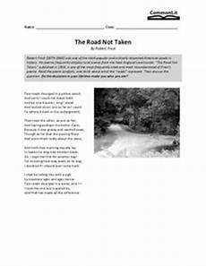 the road not taken 7th 8th grade worksheet lesson planet