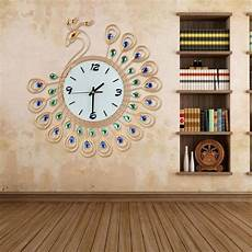 Large Wall Clock Luxury Peacock Metal by Cu3 Luxury Peacock Large Wall Clocks Metal Living