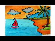 Cara Menggambar Pemandangan Alam Pantai Dengan Krayon