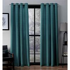 Teal Drapes Curtains by Virenze Teal Faux Silk Grommet Top Window Curtain Eh8096