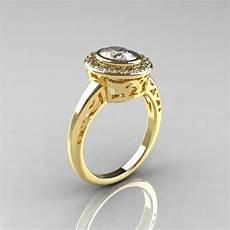 classic italian 18k yellow gold oval white sapphire