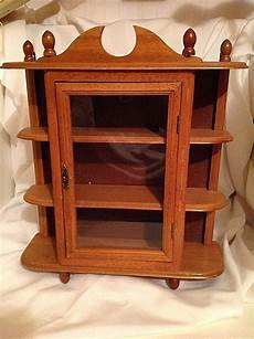 vintage wall hanging curio cabinet shelf table top glass