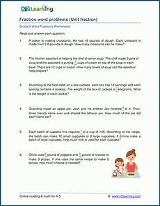 word problem fraction worksheets for grade 6 4250 division with unit fractions word problems k5 learning