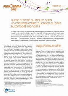 Pdf Quelle Criticit 233 Du Lithium Dans Un Contexte D