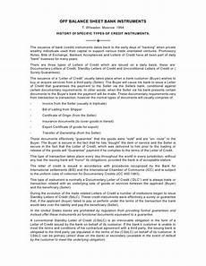 off balance sheet bank instruments