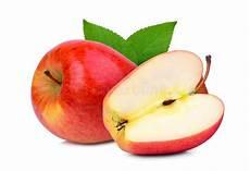 Malvorlage Apfel Mit Blatt Roter Gelber Apfel Mit Blatt Und Halb Stockfoto Bild