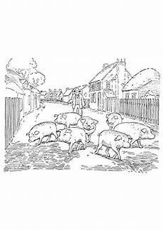Ausmalbilder Schweine Bauernhof Ausmalbild Schweine Im Dorf Zum Ausdrucken