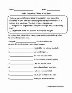 add dependent clause worksheets with images dependent