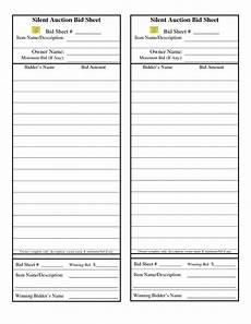 template for silent auction bid sheet silent auction bid