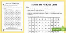 multiples and factor game board game