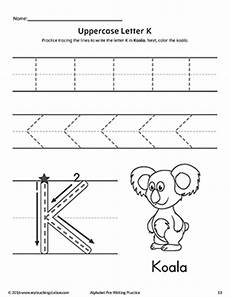 pre k letter y worksheets 24431 uppercase letter k pre writing practice worksheet myteachingstation