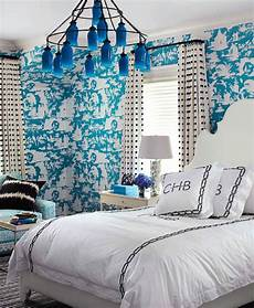 tapete blau schlafzimmer turquoise toile wallpaper contemporary bedroom house
