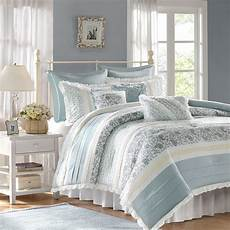 chic blue lace 9pc king comforter set french cottage
