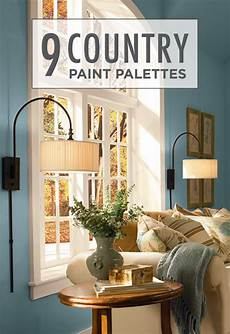 these 9 country paint palettes featuring cozy color combinations like behr paint in glacial