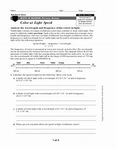 speed of light worksheet color at light speed worksheet for 9th 12th grade