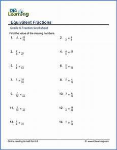 grade 6 math worksheets equivalent fractions k5 learning