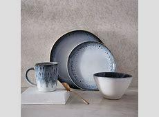 Reactive Glaze Dinnerware Set   Black/White   west elm UK
