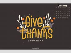 November 2018   Give Thanks Desktop Calendar  Free