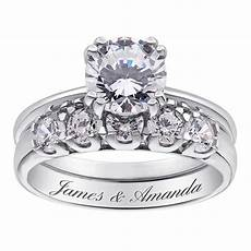 sterling silver cz 2 piece engraved wedding ring