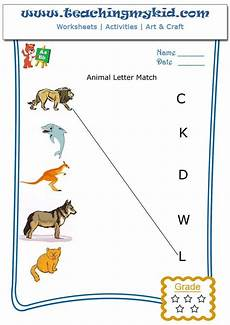 animal letter worksheets 13939 match the animal with the letter of their name worksheet 4 teachingmykid
