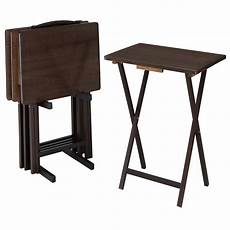 mainstays walnut 5 piece folding tv tray table set 4 trays 1 stand walmart com