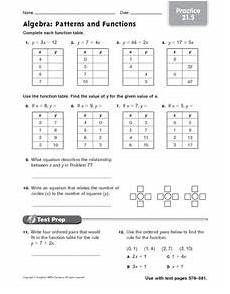 algebra patterns and functions practice worksheet for 6th 7th grade lesson planet