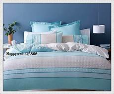 Doona Cover by Pale Turquoise Blue Linen Stripe King Single