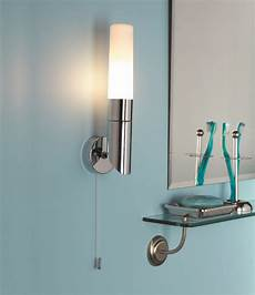 polished chrome ip44 bathroom wall light with pull cord switch opal glass shade ebay