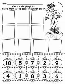 printable pumpkin number ordering worksheet 1 10 numbers preschool numbers kindergarten