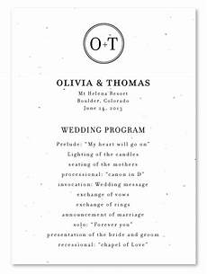 classic monogram wedding programs white seeded paper by foreverfiances weddings