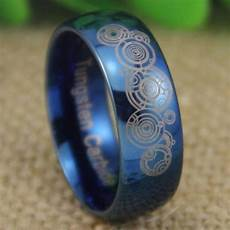 doctor who time lord shiny blue dome wedding ring