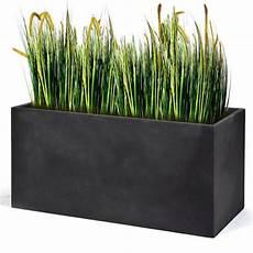 bac à fleurs bac 224 fleurs polystone l80 h41 cm gris plomb plantes et