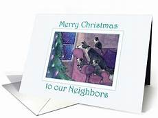 merry christmas neighbors border collie family waiting for santa card