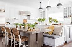 Beadboard Kitchen Banquette by Gray Oak Dining Table With Beadboard Banquette