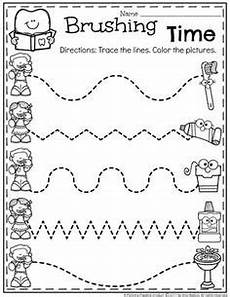 tracing zig zag lines preschool basic skills fine motor and classroom dental health month