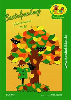 fensterbild bastelvorlage jahreszeitenbaum herbst