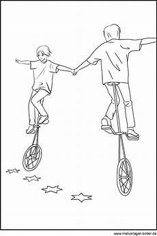 gratis malvorlagen akrobaten auf dem einrad