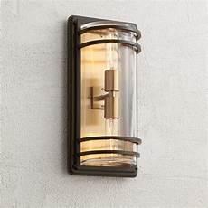 habitat 16 quot high bronze and brass 2 light outdoor wall light 60e03 ls plus