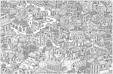 complex city architecture adult coloring pages