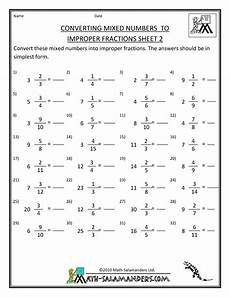 4th grade math worksheet improper fractions printable fraction worksheets convert mixed numbers to