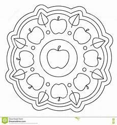 coloring simple apple mandala stock vector illustration