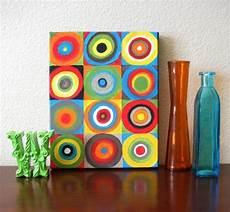 Leinwand Malen Kreise Bunt Farben Vasen Glas