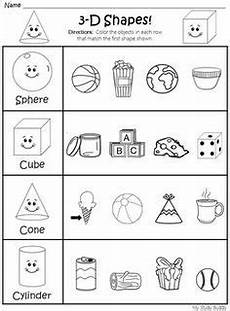 sort 2d and 3d shapes kindergarten math worksheets