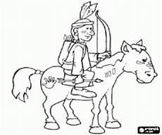 ausmalbilder ein indianer krieger zu pferd zum ausdrucken