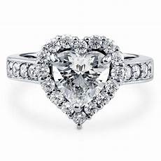 berricle sterling silver heart shaped cz halo engagement ring 2 43 carat ebay