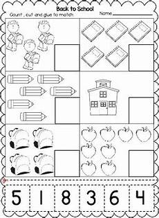 back to school themed numbers cut and paste worksheets 1